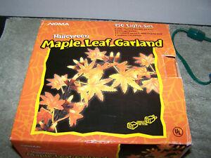 Noma Halloween Thanksgiving Autum Fall Maple Leaf Garland String Lights 9'
