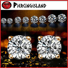 9K GOLD GF MENS LADIES GIRLS CT SOLITAIRE SIMULATED DIAMOND ROUND STUD EARRINGS