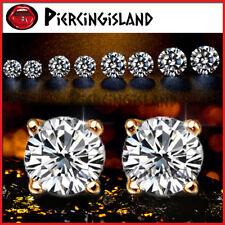 9K GOLD GF MENS LADIES GIRLS CT SOLITAIRE SIMULATED DIAMOND ROUND STUD EARRINGS