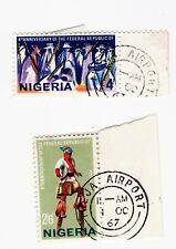 Nigeria 1967 3rd anniv republic 4d and 2/6 both with airport cancel