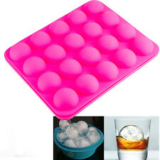 Silicon Whiskey Ice Cube Ball Maker 20 Mold Sphere Mould Brick Party Tray Round