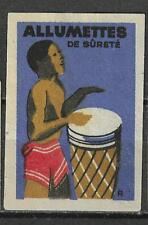 MATCHBOX LABELS-GERMANY. African drummer , export label in French, Riesa