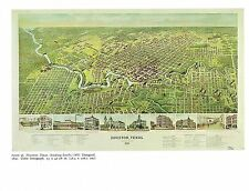 """1976 Vintage CITY """"HOUSTON, TEXAS (LOOKING SOUTH), (1891)"""" Color Art Lithograph"""