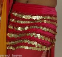 FUCHSIA HOT PINK VELVET SILVER COINS HIP SCARF TIE STRAPS BELLY DANCE from INDIA