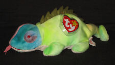 TY IGGY the TY-DYE IGUANA BEANIE BABY with SPIKES AND TONGUE - MINT TAGS