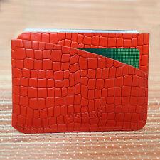 Real Leather pequeño bolsillo Delgado portatarjetas de crédito ID CARD CASE titular de la tarjeta