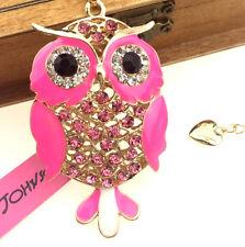 Enamel pendant Betsey Johnson Cute owl jewelry sweater chain rhinestone necklace