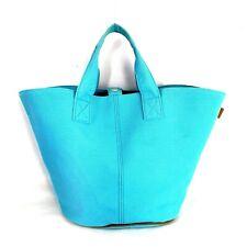 Hermes Paris Turquoise Canvas Beach Panier Bag