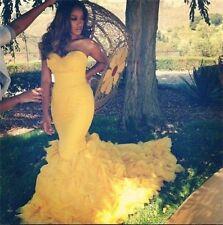 Yellow Sweetheart Ruffled Wedding Dress Mermaid Garden Bridal Gown Custom size