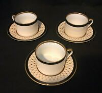 """FITZ & FLOYD 3 """"CHAUMONT"""" BLACK COFFEE TEA CUP AND SAUCE SET SOLD INDIVIDUALLY"""