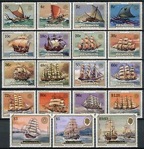 Penrhyn Cook Isl Ships Stamps 1984 MNH Sailing Craft Cutty Sark Bounty 19v Set