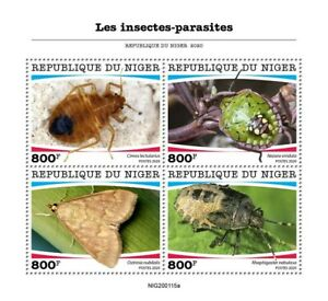 Niger Insects Stamps 2020 MNH Parasites Shieldbugs Stink Bugs Moths 4v M/S