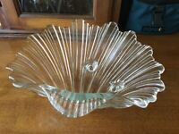 Mikasa Walther Crystal Footed Glass Shell Centerpiece Bowl Candy Dish Germany