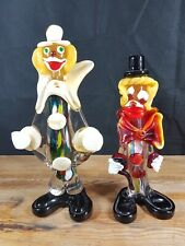 TWO VINTAGE ART GLASS FIGURES OF CLOWN NICELY DONE SEE DESCRIPTION LARGEST 26 CM