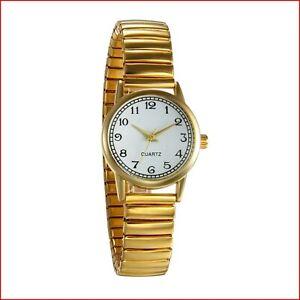 JewelryWe Women's Ultra Thin Easy Reader Watch with Elastic Strap, Golden