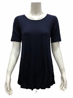 Linea by Louis Dell'Olio Women's Short Sleeves Tee Top Navy Blue Small Size