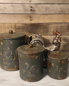 Rooster Canisters XL 3pc Set Kitchen Storage Containers Rustic Farmhouse New