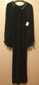 New SCARLETT UK Size 20 (US 16) Black Floor Length Gown Dress Embellished Neck