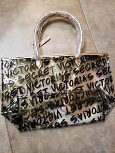 Victoria's Secret Tote Bag Set Clear & Rose Gold Shopper Beach Pouch O/S NWT