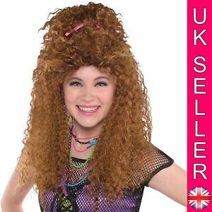 80's 1980s Totally Crimp Wig Hair Pop Beehive Adult Womens Fancy Dress Costume