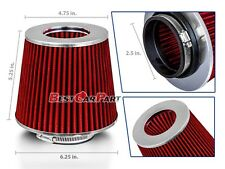 "RED 2.5"" 63.5mm Inlet Cold Air Intake Cone Replacement Quality Dry Air Filter"