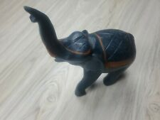 Elephant Wood Carved Statue Paperweight Decor 10 Inch Tall Great Quality