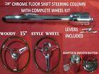 28 Streethot Rod Chrome Tilt Steering Column Floor Shift With 15 Woody Wheel