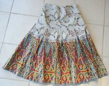 K F  Work Skirt  in Beige Browns reds Green Multi Size 8