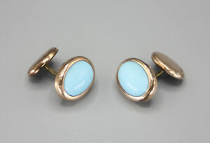 Vintage Victorian Button Back Signed CC Gold Turquoise Glass Stone Cufflinks
