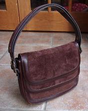 MARLI Brown Leather & Suede Purse Adjustable Snap Shoulder - MADE IN SPAIN