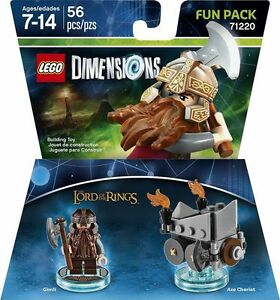 LEGO DIMENSIONS Movie Fun Pack Gimli Lord Rings Chariot 71220 (56pcs) Dwarf Axe