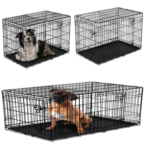 Double-Door Folding Dog Crate with Divider Heavy Duty Steel Compact Durable Pet