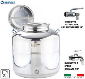 FUSTO SANSONE SALDATO EUROPA 50 LITRI LT INOX 18/10 CONTENITORE OLIO BIDONE
