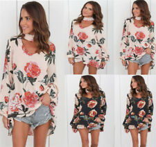 UK Summer Womens Casual Tops Blouse Ladies Long Sleeve Chocker Floral T-Shirt