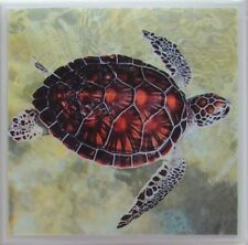 Handmade Natural Stone Ceramic Tile Marble Drink Coasters -Set of 4 -Turtles 4 D