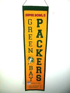 GREENBAY PACKERS SUPERBOWL 11 BANNER JANUARY 14, 1968 AGAINST OAKLAND RAIDERS