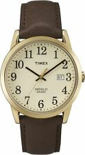 Mens Timex Easy Reader Indiglo Classic Brown Leather Beige Dial Watch TW2P75800