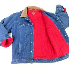 VTG Chaps Ralph Lauren Men's Blanket Lined Denim Jacket Leather Collar • Size XL