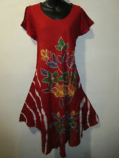 Red Floral Dress Fits 1X 2X 3X 4X Plus Lace Sleeves Hand Paint A Shaped NWT G516