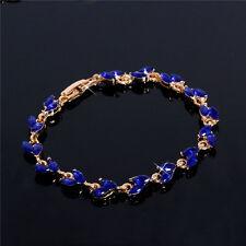18K Gold Plated Charm Austrian Crystal Royal Blue Crystal Chain Bracelet Bangle