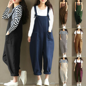 UK Womens Strappy Loose Overalls Ladies Tops Oversize Baggy Dungarees Jumpsuit