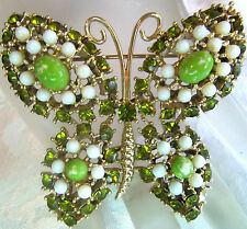 WEISS GOLDPLATED WHITE & PERIDOT COLOR BUTTERFLY BROOCH ESTATE JEWELRY