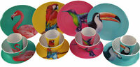 16 Piece Bamboo Eco Friendly Complete Plate Bowl Cup Set - Tropical Birds
