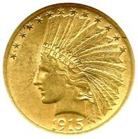 1915-S $10 Indian Gold Eagle, NGC AU-58, Attractive Gold Key Date, Great Detail!