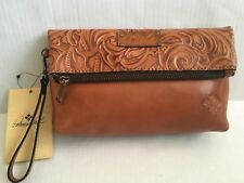 PATRICIA NASH VALERIE TOOLED Leather Wristlet Convertible Bag/Gold Brown/$79/NWT