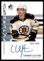 2019-20 UD SP Authentic Future Watch Rookies Auto #198 Connor Clifton /999