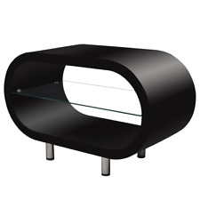 Black High Gloss Coffee Table TV Stand Oval Middle Storage Shelf Glass Modern