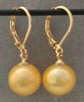 New AAA 10-11mm Gold Round South Sea Pearl Earring 14k Gold