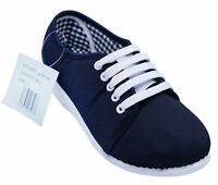 LADIES DARK NAVY LACE-UP LOW WEDGE CANVAS COMFY PUMPS CASUAL SUMMER SHOES
