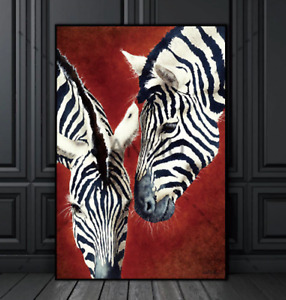 Canvas Print, Stunning ZEBRAS on burnished red, 60 cm x 90 cm ( 1 avail )